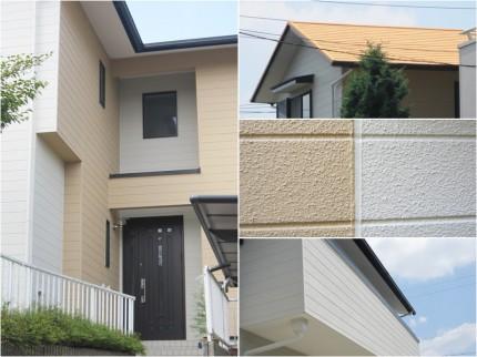 【完工後外観】 ・正面玄関 ・屋根 ・2色切り分け境界線 ・ベランダ